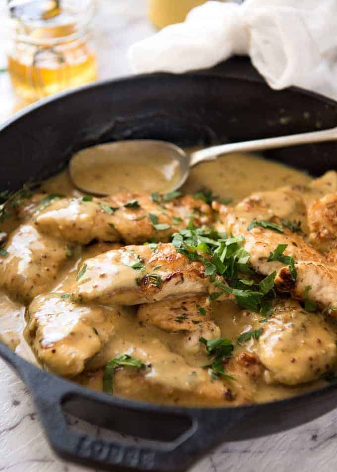 Honey Mustard Chicken - Chicken simmered in a homemade honey mustard sauce. Super easy, super fast! recipetineats.com